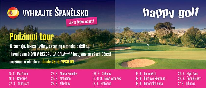 HAPPY GOLF tour  -  Otevřená série golfových turnajů s luxusními výhrami a bohatou tombolou.
